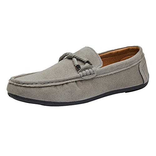 Casual Flat Shoes for Men, Huazi2 Slip on Loafer Suede Beanie Driving Shoes Single Shoes Grey]()