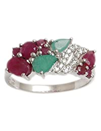 Banithani 925 Sterling Silver Emerald And Ruby Stone Ring Indian Women Fashion Jewelry