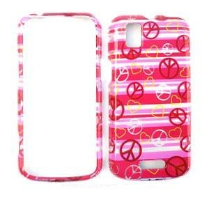 MOTOROLA XPRT MB612 Transparent Design Peace Signs and Hearts on Pink HARD PROTECTOR COVER CASE / SNAP ON PERFECT FIT CASE (Motorola Xprt Mb612)