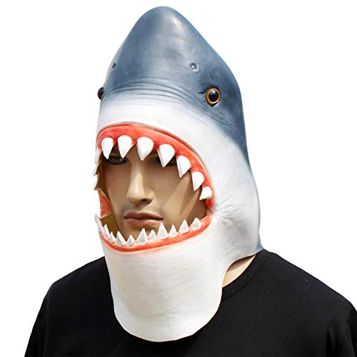 CreepyParty Novelty Halloween Costume Party Latex Animal Head Mask Shark]()