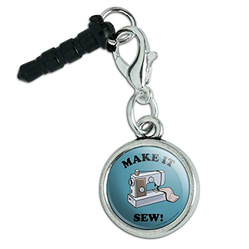 (Make It Sew So Sewing Funny Humor Mobile Cell Phone Headphone Jack Anti-Dust Charm fits iPhone iPod Galaxy)
