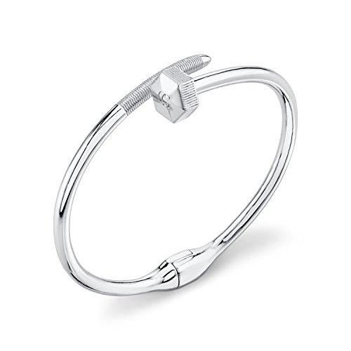CHARLIZE GADBOIS 925 Sterling Silver Nut & Bolt Hexagon Bangle Bracelet, Rhodium Plated by Gadbois Jewelry