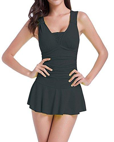 Moollyfox Para Mujeres Falda Del Sólido Baño De Una Sola Pieza Beachwear Bañadores Negro