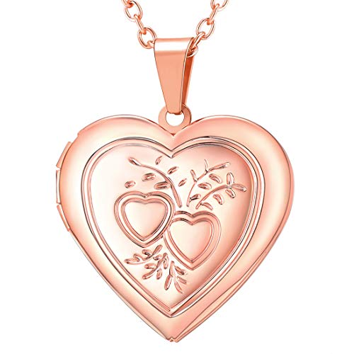 U7 Charm Necklace Flower/Cross Pattern Platinum/Rose Gold/18K Gold Plated Locket Pendant with 22 Inches Chain, 4 Styles (E. Rose Gold Heart & Heart)