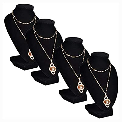 "Jewelry Holder, Flannel Jewelry Holder Necklace Bust Black 3.5"" x 3.3"" x 6"" 4 pcs"