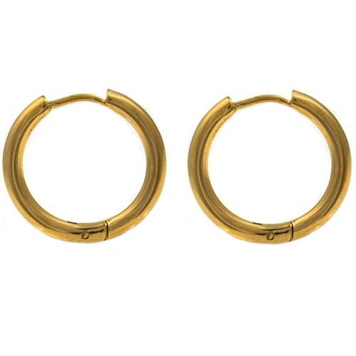 Pair of Gold-Tone IP Steel Hinge Hoop Earrings 10-20mm (14mm Diameter)