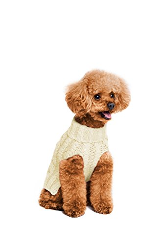 Golden Paw Knitted Jumper Dog Sweater, Dog Apparel, Warm Dog Clothes (Large, Cream) by Golden Paw