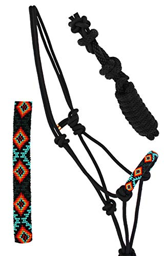 Nylon Horse Braided Beaded Noseband Rope Halter Lead Rope Tack Black 606RT28