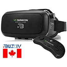 2017 Genuine Buzziv Virtual Reality VR Headset + Remote Controller, VR Box Glasses Movie Games Helmet Google Cardboard Upgraded for IOS iPhone 6 6s Plus, Android Samsung Galaxy S5 S6 S7 Edge Note 4 5