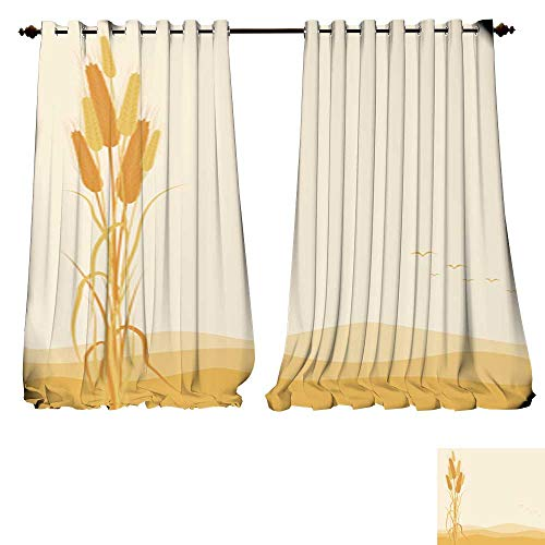 Wheat Chandelier 4 Light (DESPKON-HOME Room Darkening Wide Curtains Golden Wheat Ears on Autumn Background Thermal Insulated Room Darkening Window-W72 x L96/Pair)