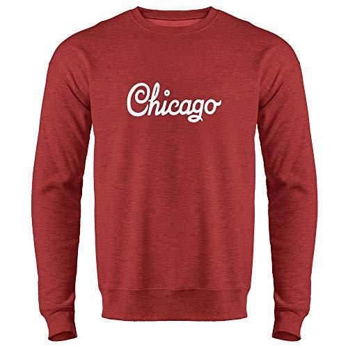 - Chicago Illinois Retro Vintage Travel Heather Red 3XL Mens Fleece Crew Sweatshirt