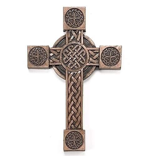 "Roman 8"" Antique Bronze Irish Cross with Celtic Symbols Religious Wall Decoration"