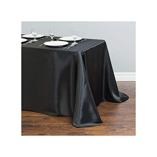 HuangKang 21 Solid Color Rectangular Satin Tablecloth Table Cover Dining for Wedding Party Banquet Decor Table Clothes,Black,145X220Cm-57X87Inch from HuangKang