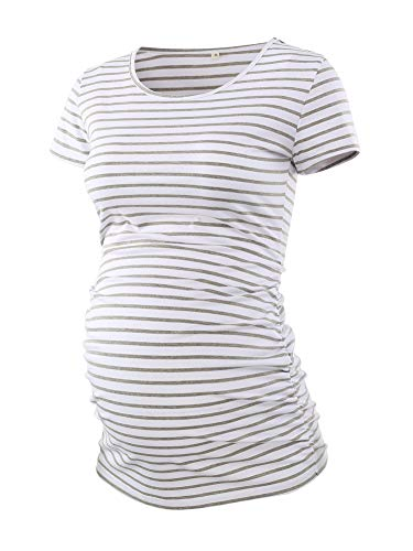 Liu & Qu Women's Maternity Classic Side Ruched T-Shirt Tops Mama Pregnancy Clothes