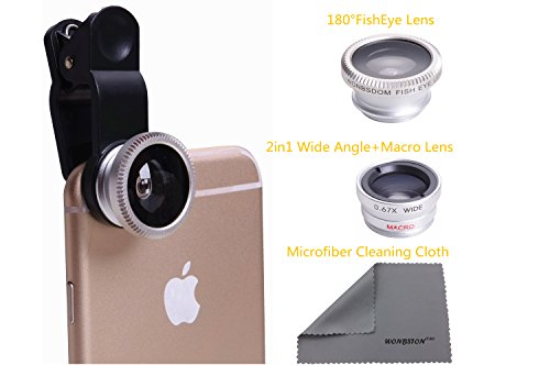 3-in-1 Macro/Fish-eye/Wide Clip Lens for Mobile Phone and Tablets (Silver) - 3