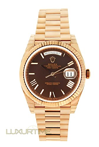 Rolex President Mens Day Date Watch 18K Rose Gold 218235 40mm Chocolate Roman Dial UNWORN