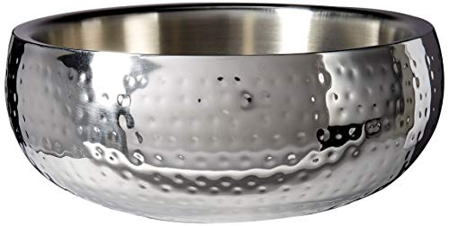 Elegance Hammered 11-Inch Round Stainless Steel Doublewall Serving Bowl by Elegance