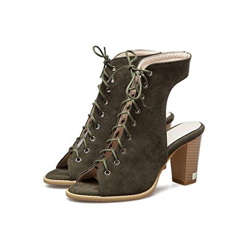 Color Piel sintética Verde 45 de de de Zapatos Tacón otoño Sandalias Aguja Novedad Ligera Club de Verano Mujer Mujer Suela de de de Zapatos tamaño out Hollow CqgAg