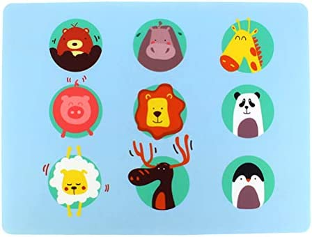 BESTonZON Juego de Mesa de Silicona para niños, Dibujos Animados, Animales, Animales, Animales, Animales, Alfombra, Gruesa, Aislante, Mate, Juego de Mesa, Placa Antideslizante (Blue Animal World): Amazon.es: Hogar