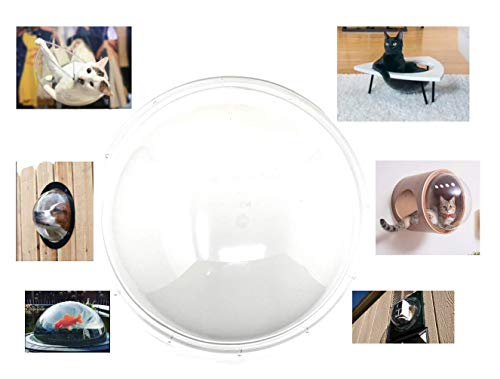 Joels Picks Acrylic Dome Crystal Clear 12 Inner Diameter with Flange and pre-drilled Holes Optics Grade