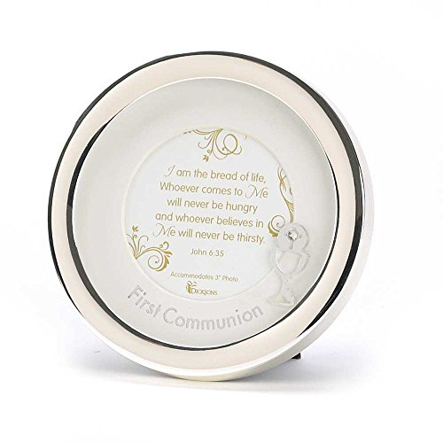 First Communion John 6:35 Silver Plated 5.5 inch Round Photo Frame