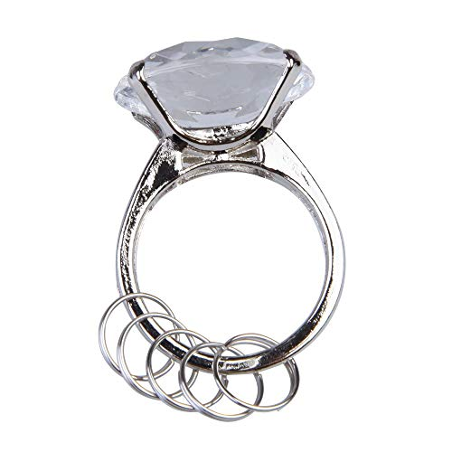 Whitelotous Big Diamond Engagement Ring Keychain Keyring Holders Wedding Facor Romantic Gift (Clear)