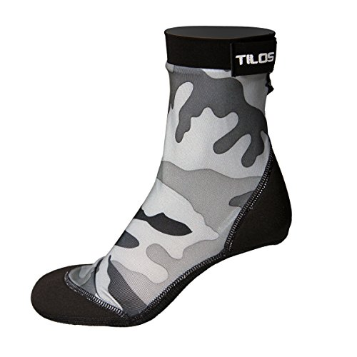 - Tilos Sport Skin Socks for Adults and Kids, Protect Against Hot Sand & Sunburn for Water Sports & Beach Activities (Gray Camo, L - Size 10-11)