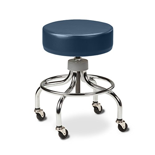 Chrome Base Stool with round foot ring-Royal Blue