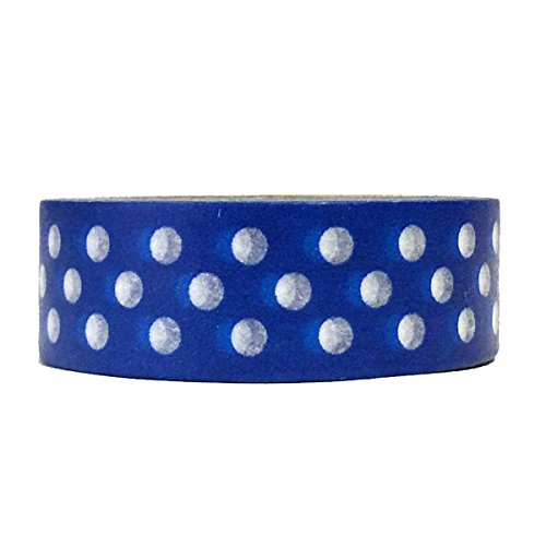 Allydrew Decorative Washi Masking Tape, Royal Blue Dots