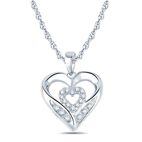 Tesero Mio 10K White Gold 1/10 Carat Round Cut (I-J Color, I2-I3 Clarity) Natural Diamond Heart Pendant Necklace for Women