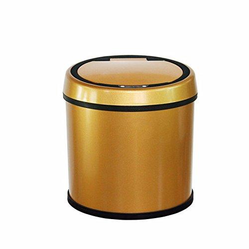 Intelligent sensor trash can stainless steel innovative household trash,Golden,6L 252525CM Golden Stainless Steel Windshield