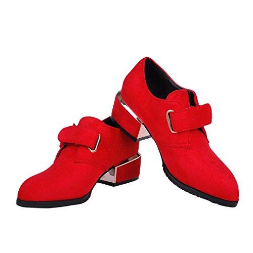 ENMAYER Frauen Nubuck Material Low Heels Gürtelschnalle Spitz Zehe Casual Fashion Schuhe Rot