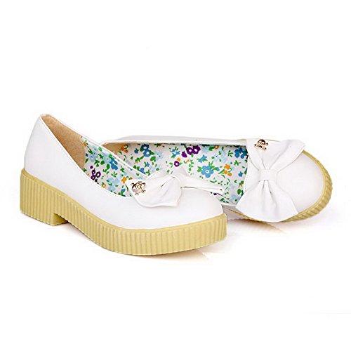 Allhqfashion Donna Tacco Basso A Tacco Alto Solido Rotondo Scarpe Pompe-scarpe Bianche