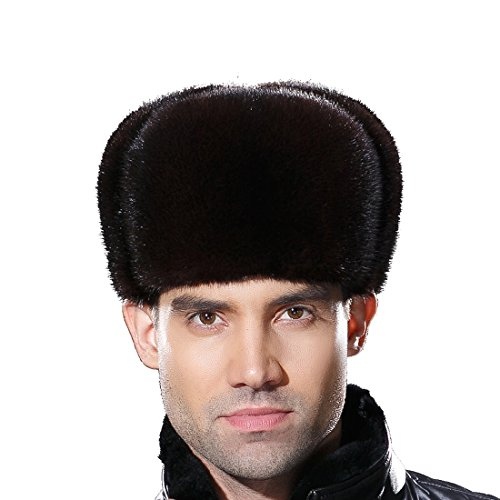 URSFUR Russian Fur Ushanka Hat Mens Winter Real Min Fur Trapper Cap Brown S by URSFUR