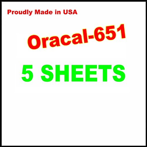5 Sheets Oracal 651 Permanent, Adhesive Backed, Craft Vinyl Sheets 12'x12' Make Monograms Stickers Decals and Signs (WHITE)