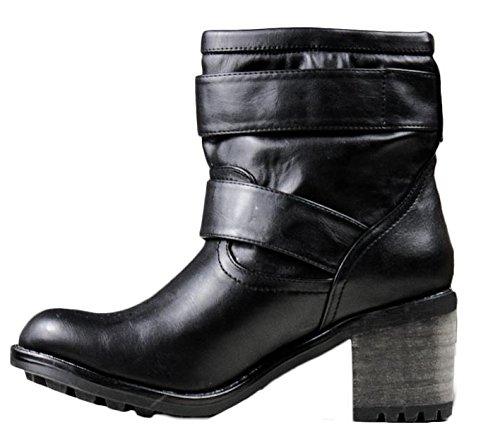 tacco Toocool 1 biker motociclista Nero scarpe fibbie LR1203E Stivali nuovi donna stivaletti nFFwqYHr
