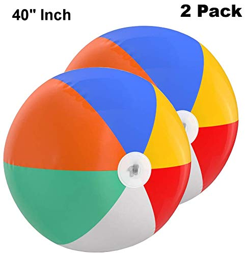 (Top Race Jumbo 40 inch Beach Ball Jumbo Colorful Beach Ball Rainbow Color Beach Balls 3.5 Feet Big (2)
