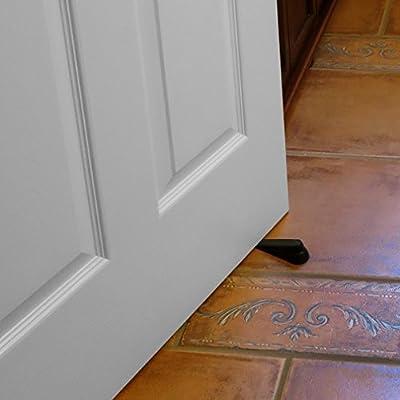 """Evelots Flexible Rubber Door Stoppers,Wedges Door Gaps Up to 1.25"""", Black- S/5"""