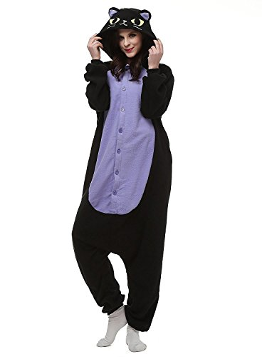 Juxy Couture Adult Unisex Womens and Mens Midnight Cat Ultra Soft Comfy Plush One Piece Pajama Costume for Halloween and Christmas (Size: 5'2