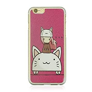 QHY The Cat and The Girl Leather Vein Pattern PC Hard Case for iPhone 6 Plus