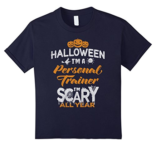 Kids Personal Trainer Halloween Costume Gift Tshirt 12 Navy