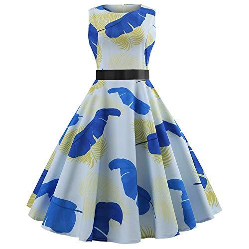 (Women Dresses Godathe Women Retro Print Bodycon Sleeveless Evening Party Ball Swing Dress)