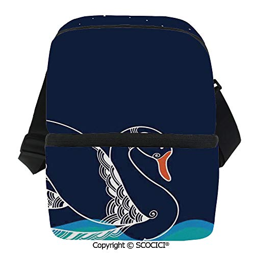 SCOCICI Reusable Insulated Grocery Bags Silhouette of Big Winged Swan Floating on Waves in Lake Dark Starry Night Graphic Art Thermal Cooler Waterproof Zipper Closure Keeps Food Hot Or Cold