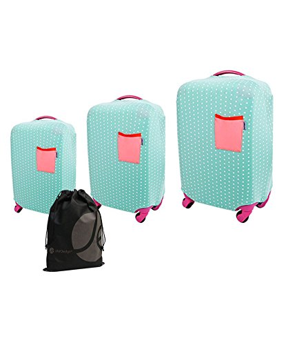 3 Piece Bundle Pack Mint Polka Dot Stretch Fabric Luggage Cover - 3 Sizes: (SM) 18