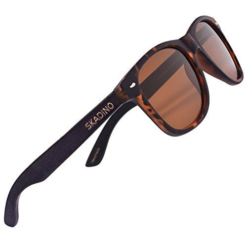 SKADINO Ebony Wood Sunglasses for Women&Men with Polarized Lens Handmade Wooden Arms-Tortoiseshell Brown Lens - Sunglasses Or Black Tortoiseshell