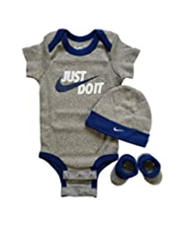 Nike 3 Piece Layette Set for Baby Boy's and Girl's, Bodysuit/Hat/Booties (0-6 Months, Gray/Blue)