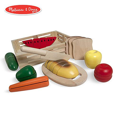 Melissa & Doug Cutting Food Wooden Play Food, Pretend Play, Self-Stick Tabs, Sturdy Wooden Construction, 2.8