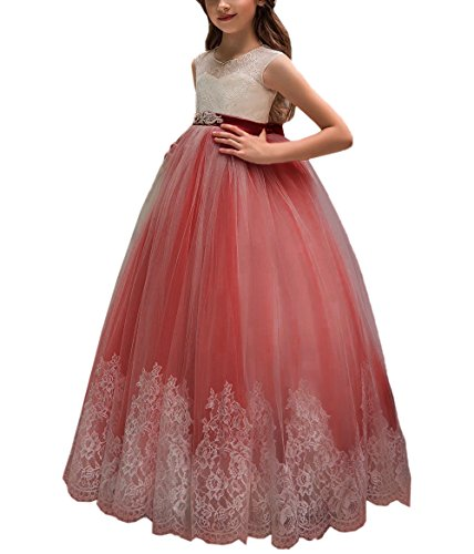 Flower Girl Dress for Wedding Kids Lace Pageant Ball Gowns (Size 8, z Burgundy)
