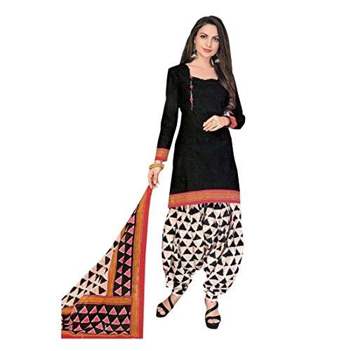 Designer Printed Cotton Patiala Salwar Kameez Readymade Suit Indian Dress Bollywood, Medium, Black, Black, (Salwar Kameez Dupatta)