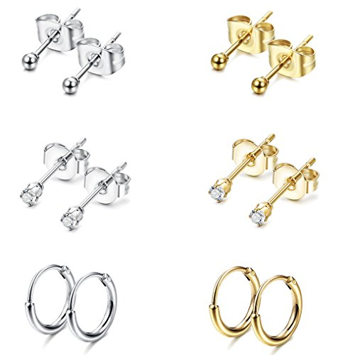 Jstyle Stainless Steel 2mm Tiny Stud Earrings for Women Mens Endless Hoops CZ Balls Cartilage Earrings Set Silver Gold (Best Earrings For Large Earlobes)
